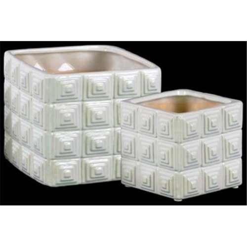 Urban Trends Collection 50551 Ceramic Square Pot with Embossed Square Design, White - Set of 2