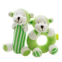 2PCS Baby Plush Soft Toy Baby Rattles Ring Rattle  Hand Grasp Rattle, Monkey