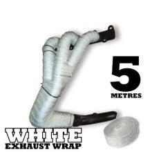 5m White Heat Wrap Tape Exhaust Manifold Downpipe High Temperature Fibre Bandage -  5m white heat wrap tape exhaust manifold downpipe high