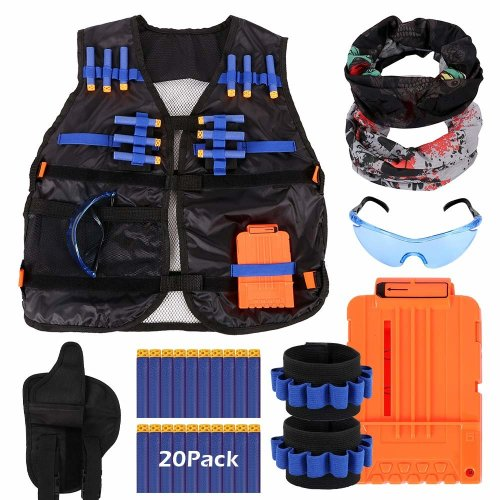 Tactical Vest Kids N-Strike Tactical Vest Kit for Nerf Guns Jacket Elite Series for Boys with 20PCS Refill Bullet and Hand Wrist Band