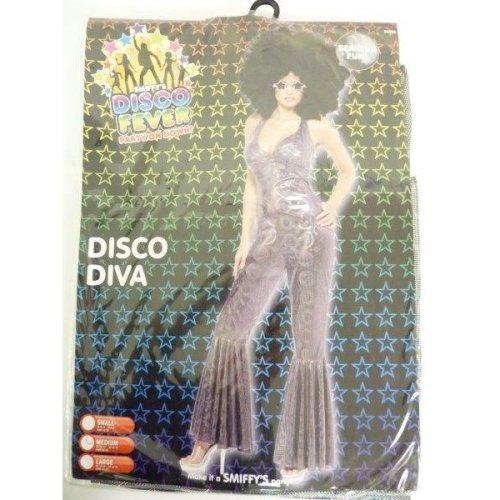 Medium Silver Ladies Disco Diva Costume -  disco costume fancy dress diva 70s ladies adult womens outfit jumpsuit catsuit 1970s