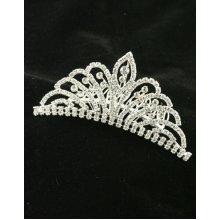 Sterling Silver-Gilt Crystal Fountain Wedding Tiara Comb
