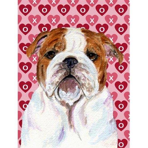 11 x 15 In. Bulldog English Hearts Love Valentines Day Flag, Garden Size