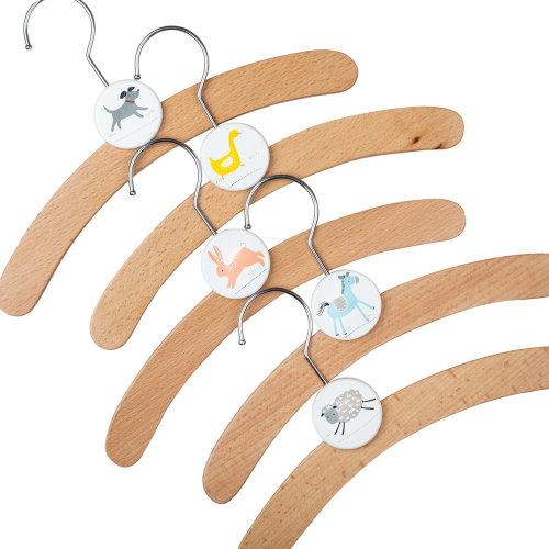 Tidlo Kids Wooden Character Coat Hangers | Wardrobe Clothes Hooks