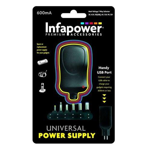Infapower P001 Handy 600mA 7-Way AC/DC Universal USB Adaptor Power Supply