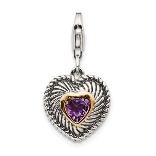 Shey Couture QTC304 14K Gold Sterling Silver Amethyst Antiqued Charm