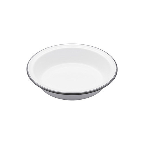 Kitchen Craft 18.5 x 3.5 cm Living Nostalgia Enamel Round Pie Dish, White/Grey