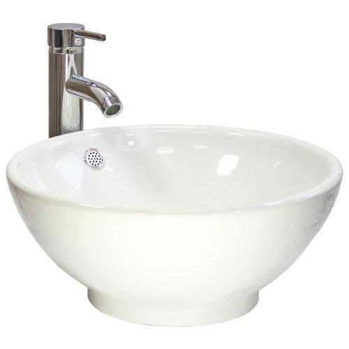 Ceramic Round Countertop Bathroom Sink & Tap