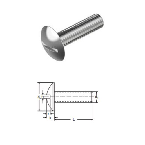 Mushroom Head Slotted Screws M6 x 60 mm A2 (T304) Stainless Steel