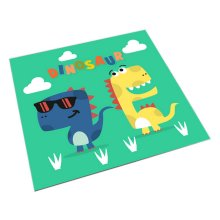 Square Cute Cartoon Children's Rugs, Green And Cartoon Dinosaurs