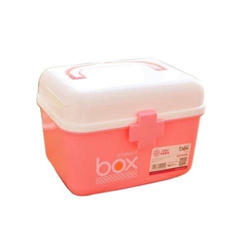 The Plastic Two-layer Household medicine chest/Storage Box(Pink Medium)