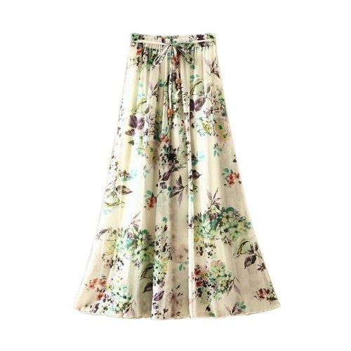 Nice Purple Flower Pattern Summer Chiffon Skirt Large Swing Skirts Fairy Skirt