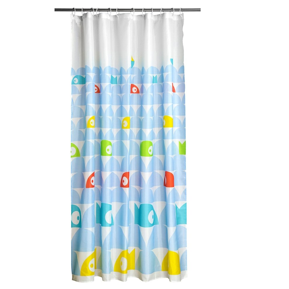 12 hook fish design shower curtain on onbuy for Fish shower curtain
