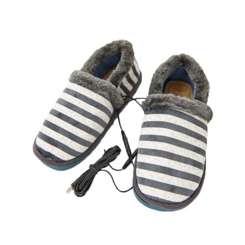 [Grey Stripe] Heating Shoes Warm USB Electric Heated Slipper usb Foot Warmer for Winter 27cm
