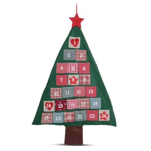 Christmas Tree Advent Calendar Red & Green Fabric w/ Numbered Pockets