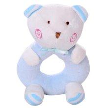 Plush Baby Doll Rattles Newborn Animal Hand Puppet Blue