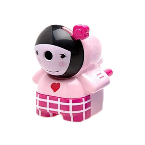 Lovely Girl Manual Pencil Sharpener for Office and Classroom (Pink)