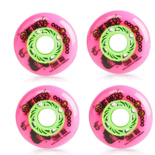 Set of 4 Skateboard Accessories Inline Skate Wheels with Bearings, Pink, 72MM