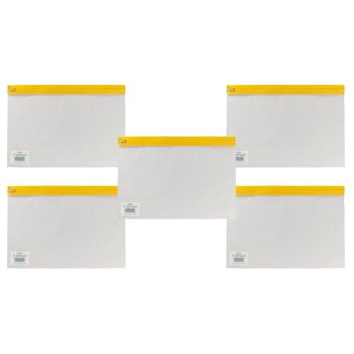 Snopake A4 Plus 370 x 260 mm Zippa Bag 'S' with Zip Strip - Transparent/Yellow (Pack of 5)