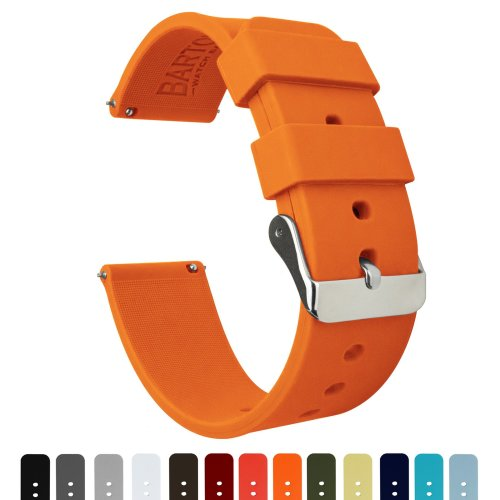 Barton Silicone Watch Bands - Quick Release Straps - Choose Color & Width - 16mm, 18mm, 20mm, 22mm - Pumpkin Orange 22mm