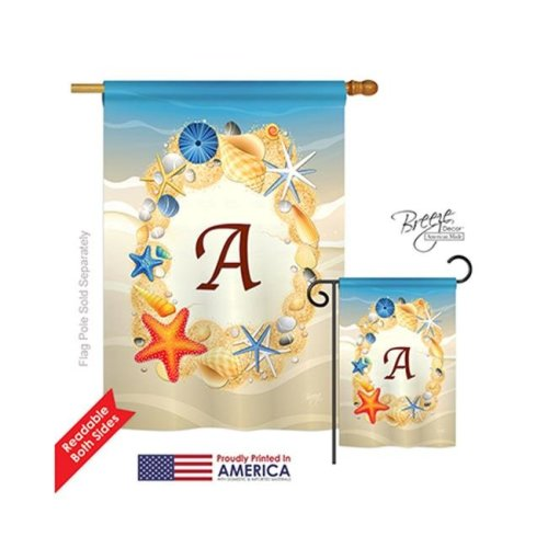 Breeze Decor 30157 Summer A Monogram 2-Sided Vertical Impression House Flag - 28 x 40 in.