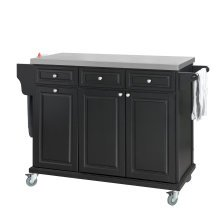 SoBuy® FKW33-SCH, Luxury Kitchen Storage Trolley Kitchen Island with Stainless Steel Worktop