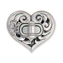 Antique Silver Plate Heart Bag Clasp -  tandy leathercraft heart bag clasp 2 x 78 1130300