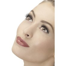 Black Natural Long Fake Eyelashes -  eyelashes natural lengthen smiffys black false fancy dress fever