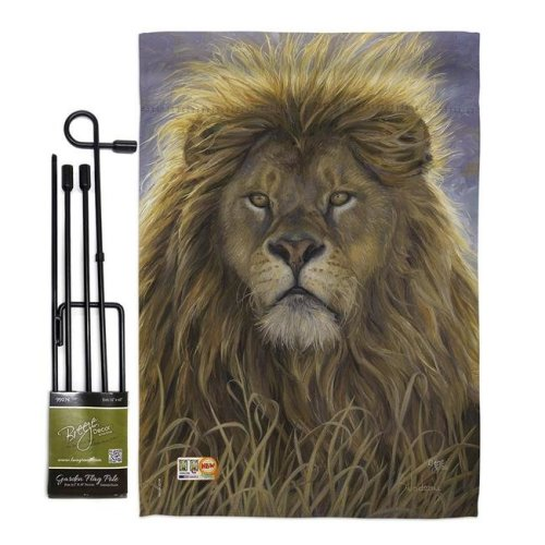 Breeze Decor BD-WL-GS-110096-IP-BO-D-US16-AL 13 x 18.5 in. Lion Nature Wildlife Vertical Double Sided Mini Garden Flag Set with Banner Pole