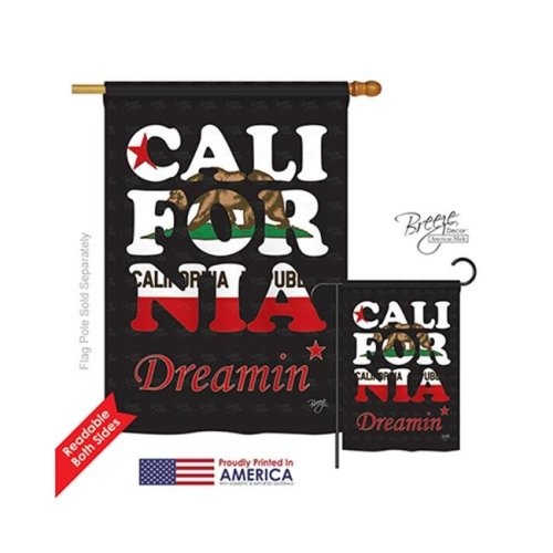 Breeze Decor 08176 States California Dreamin 2-Sided Vertical Impression House Flag - 28 x 40 in.