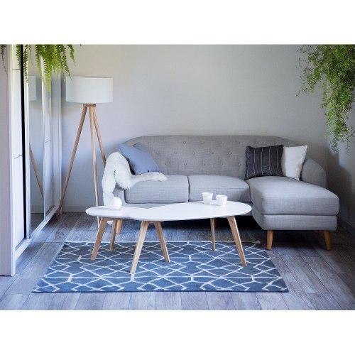 Light Grey Upholstered Corner Sofa IVALO