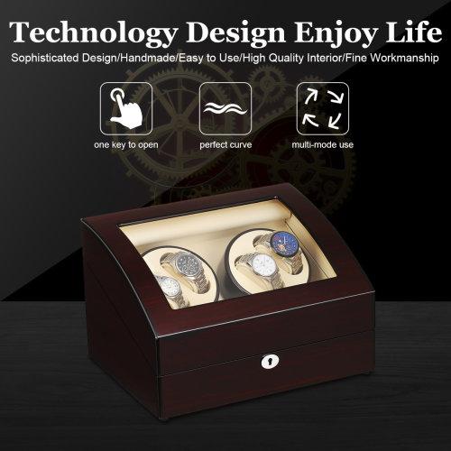 Luxury 4+6 Grids Automatic Watch Winder Box Display Organizer Case