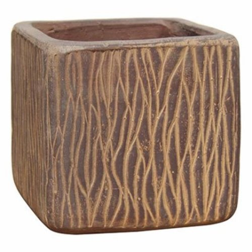 Border Concepts 227813 7 x 6.75 in. Brownish Red Woodridge Square Pot