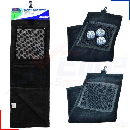 Longridge Luxury Golf Towel - Black with pocket