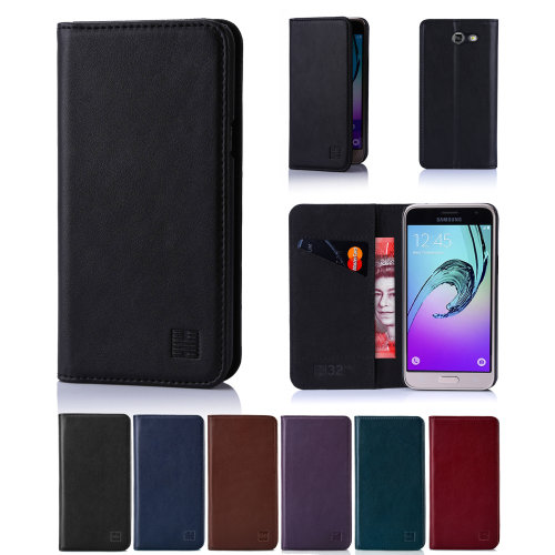32nd Classic Series -  Real Leather Book Wallet Flip Case Cover For Samsung Galaxy J3 (2017) (J330-F), With Magnetic Closure and Stand