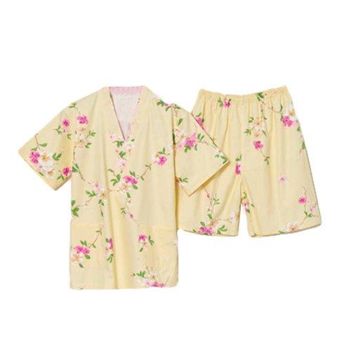 Yellow Flora Pattern Cotton Pajamas Suit Khan Steamed Clothes Women Loungewear