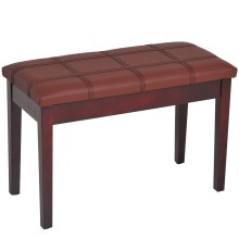 HOMCOM Faux Leather Piano Stool Keyboard Double Duet Bench Seat with Storage 75L x 35W x 49H (cm) - Brown