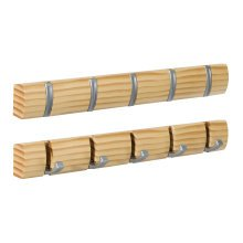 5pc Concealed Coat Hook Board | Pine Effect Folding Hook Rack