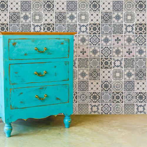 Walplus Tile Vintage Blue Azulejo Tiles Wall Sticker Decal (Size: 20m x 20cm @ 12pcs)