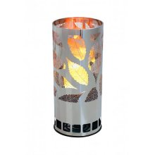 Silk Flame Effect Lamp - Round LEAF BRAZIER, in Silver