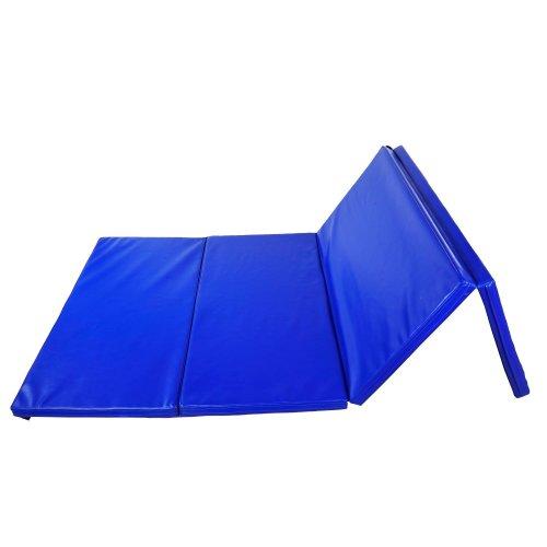 Homcom Folding Panel Exercise Yoga Mat PU Leather 5cm Foam (Blue)
