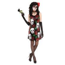 Day of the Dead Skull & Roses Sequin Dress Costume