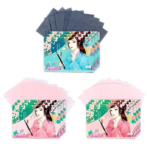 Double-sided Makeup Blotting Papers Face Oil Absorbing Paper set, 300 Sheets (A)