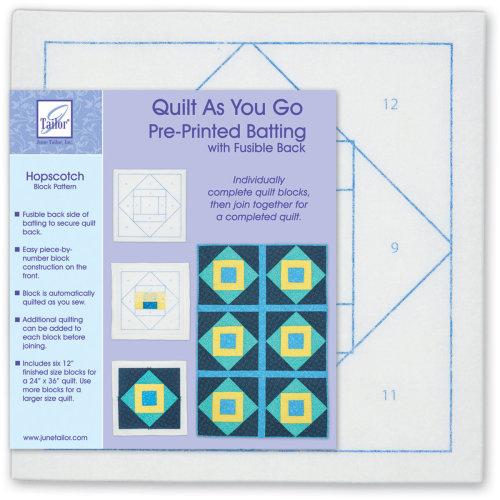 June Tailor Quilt As You Go Printed Quilt Blocks On Batting-Hopscotch
