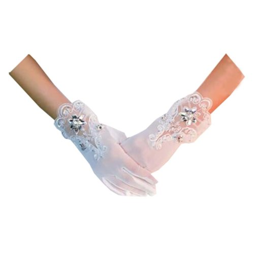 Voile Finger Wrist Length Short Bridal Gloves for Wedding Party Accessory,A
