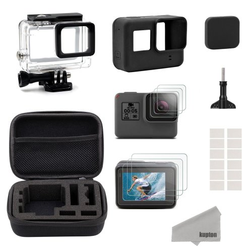 Kupton Accessories for GoPro Hero7Black Only/(2018) 6/5 Black Starter Kit Travel Case Small + Housing Case + Screen Protector + Lens Cover +...