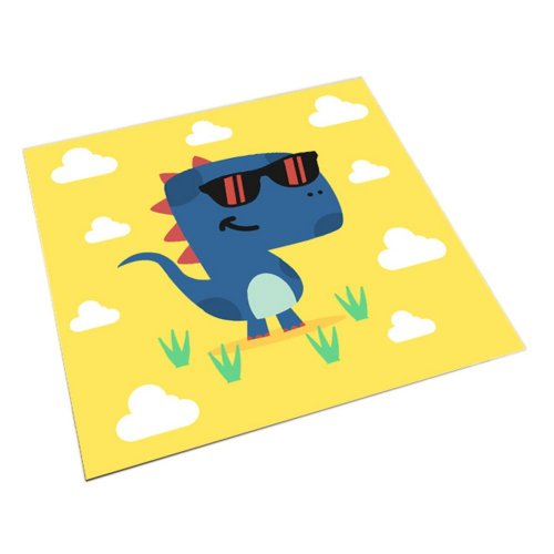 Square Cute Cartoon Children's Rugs, Yellow And Cool Cartoon Dinosaurs
