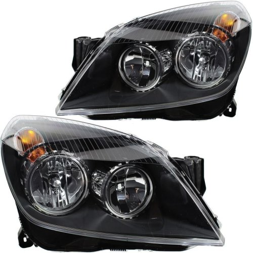 Vauxhall Astra H Mk5 2004-2007 Black Headlights Headlamps 1 Pair O/s & N/s