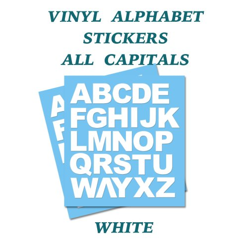 2 x   White Letters Full Alphabet Self Adhesive Vinyl Stickers   50mm