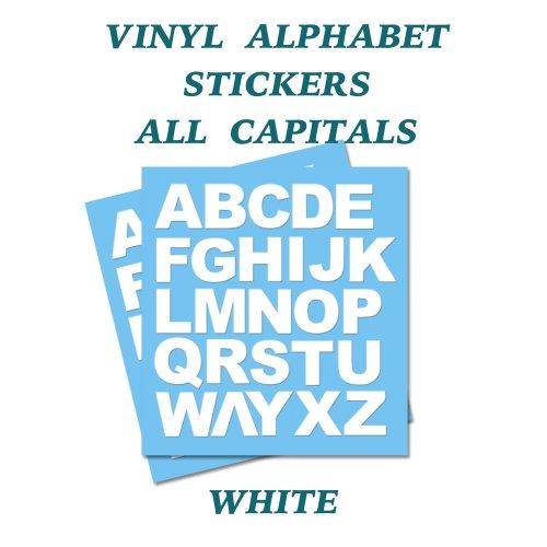2 x   White Letters Full Alphabet Self Adhesive Vinyl Stickers   50mm
